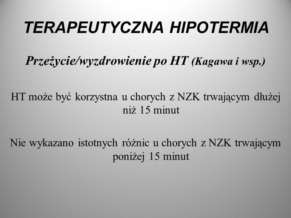 TERAPEUTYCZNA HIPOTERMIA Przeżycie/wyzdrowienie po HT (Kagawa i wsp.) HT może być korzystna u chorych z NZK trwającym dłużej niż 15 minut Nie wykazano