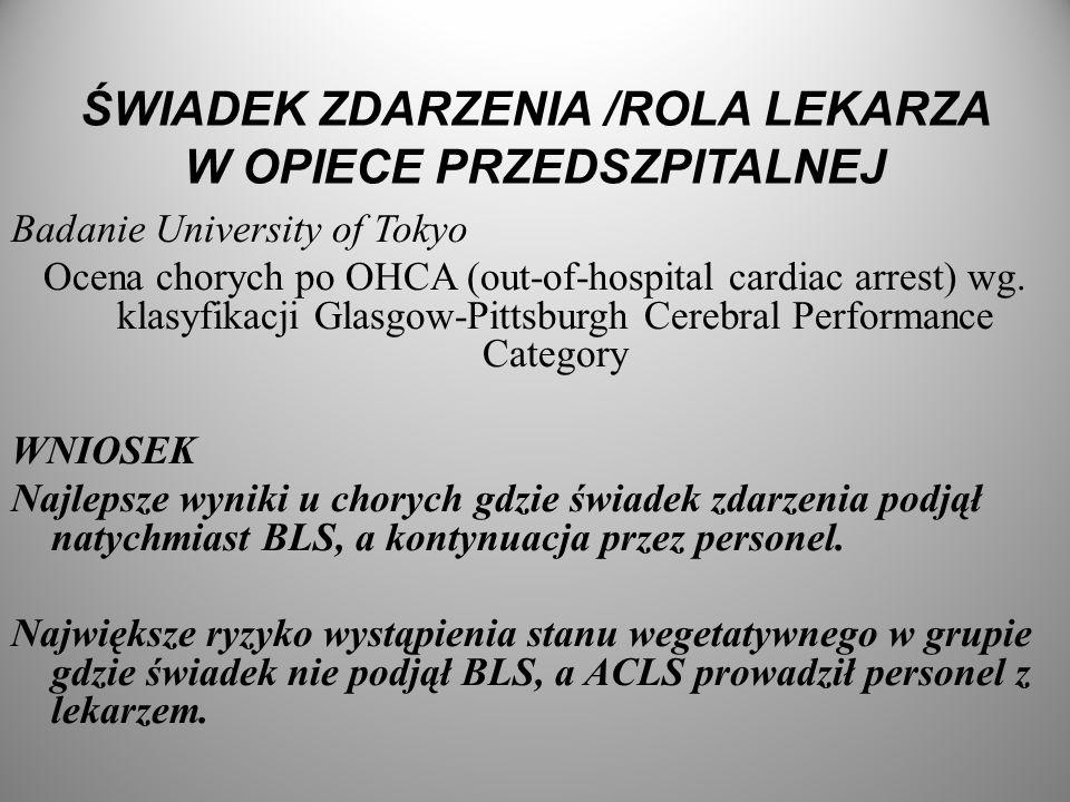ŚWIADEK ZDARZENIA /ROLA LEKARZA W OPIECE PRZEDSZPITALNEJ Badanie University of Tokyo Ocena chorych po OHCA (out-of-hospital cardiac arrest) wg. klasyf