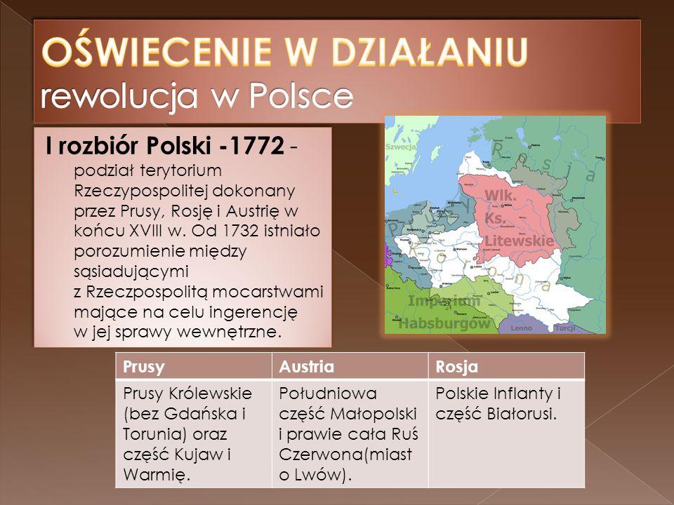 PrusyAustriaRosja Prusy Królewskie (bez Gdańska i Torunia) oraz część Kujaw i Warmię.