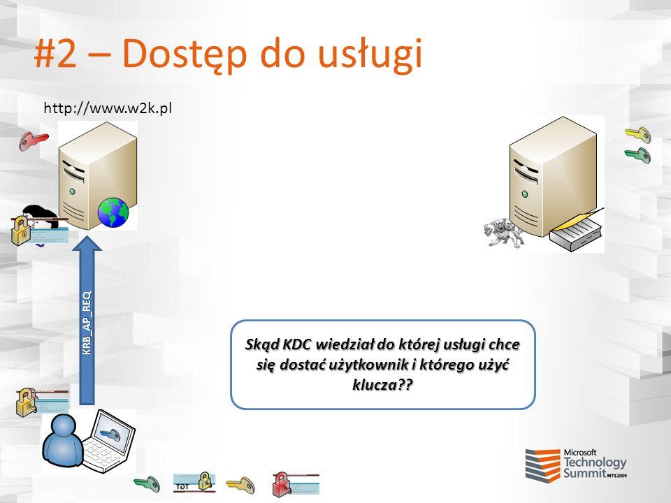 #2 – Dostęp do usługi http://www.w2k.pl KRB_AP_REQ Skąd KDC wiedział do której usługi chce się dostać użytkownik i którego użyć klucza??