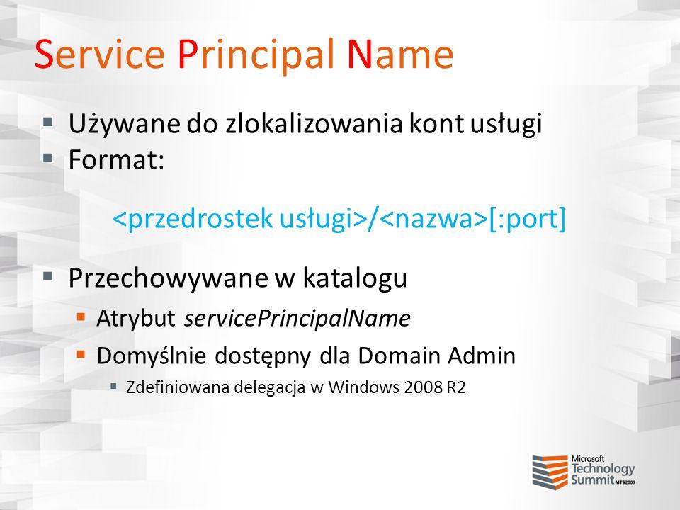 Service Principal Name Używane do zlokalizowania kont usługi Format: / [:port] Przechowywane w katalogu Atrybut servicePrincipalName Domyślnie dostępn