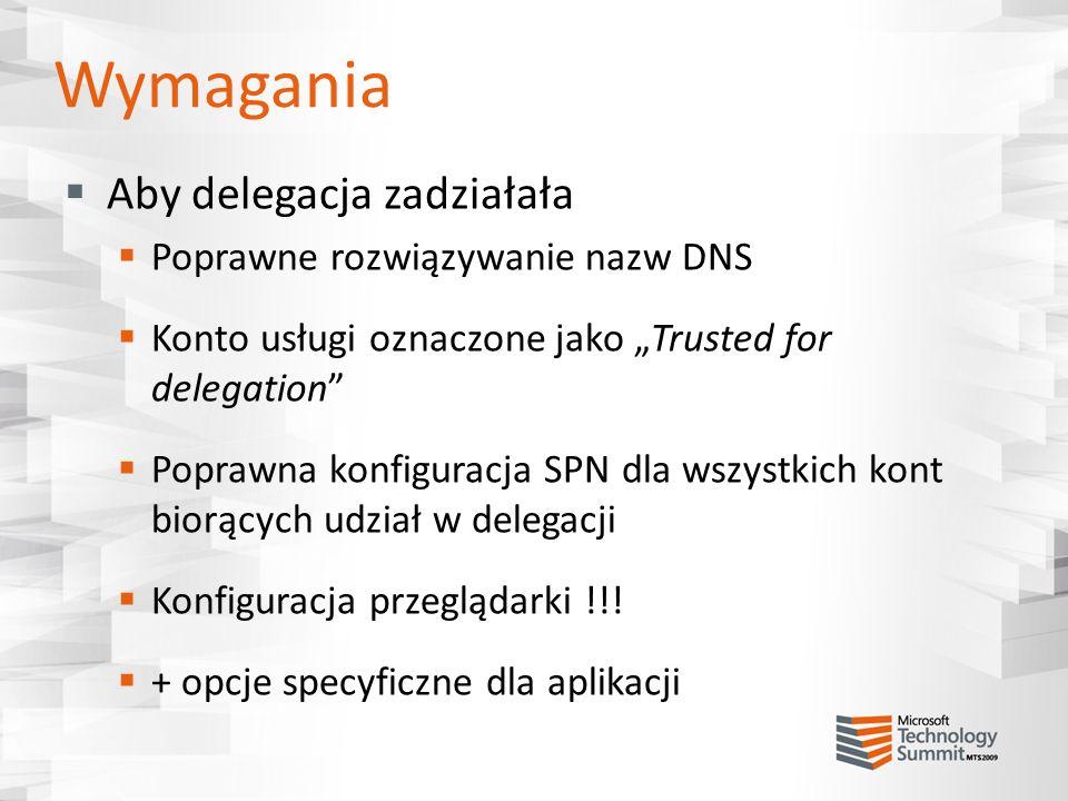 Wymagania Aby delegacja zadziałała Poprawne rozwiązywanie nazw DNS Konto usługi oznaczone jako Trusted for delegation Poprawna konfiguracja SPN dla ws