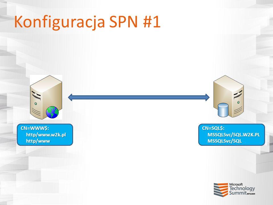 Konfiguracja SPN #1 CN=WWW$:http/www.w2k.plhttp/wwwCN=SQL$:MSSQLSvc/SQL.W2K.PLMSSQLSvc/SQL