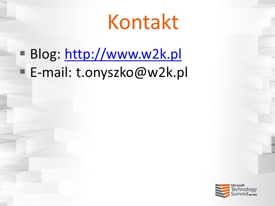 Kontakt Blog: http://www.w2k.plhttp://www.w2k.pl E-mail: t.onyszko@w2k.pl