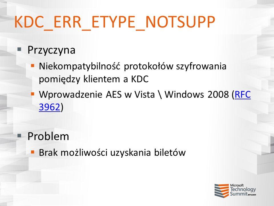 KDC_ERR_ETYPE_NOTSUPP Przyczyna Niekompatybilność protokołów szyfrowania pomiędzy klientem a KDC Wprowadzenie AES w Vista \ Windows 2008 (RFC 3962)RFC