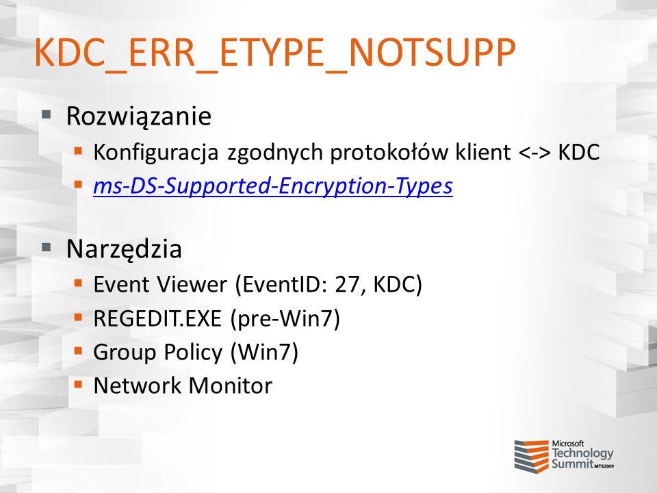 KDC_ERR_ETYPE_NOTSUPP Rozwiązanie Konfiguracja zgodnych protokołów klient KDC ms-DS-Supported-Encryption-Types Narzędzia Event Viewer (EventID: 27, KD