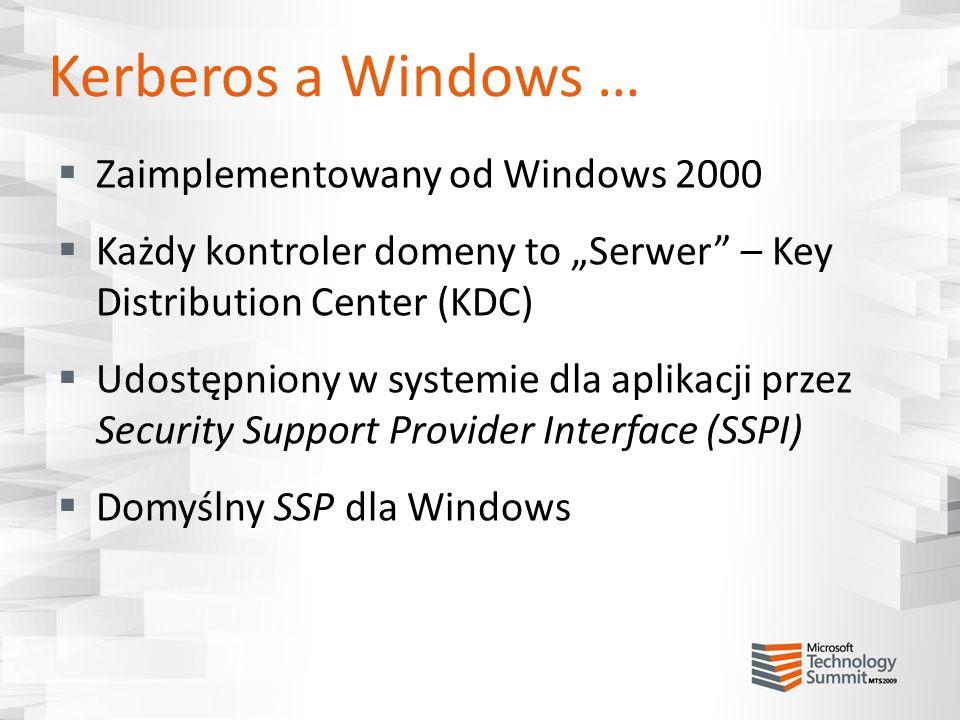Kerberos a Windows … Zaimplementowany od Windows 2000 Każdy kontroler domeny to Serwer – Key Distribution Center (KDC) Udostępniony w systemie dla apl
