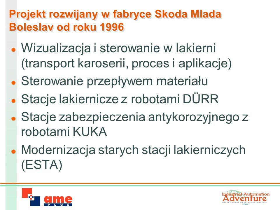 Projekt rozwijany w fabryce Skoda Mlada Boleslav od roku 1996 Wizualizacja i sterowanie w lakierni (transport karoserii, proces i aplikacje) Sterowanie przepływem materiału Stacje lakiernicze z robotami DÜRR Stacje zabezpieczenia antykorozyjnego z robotami KUKA Modernizacja starych stacji lakierniczych (ESTA)