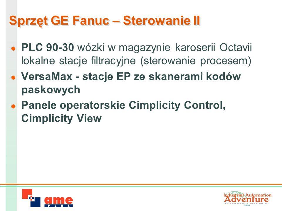 Sprzęt GE Fanuc – Sterowanie II PLC 90-30 wózki w magazynie karoserii Octavii lokalne stacje filtracyjne (sterowanie procesem) VersaMax - stacje EP ze skanerami kodów paskowych Panele operatorskie Cimplicity Control, Cimplicity View