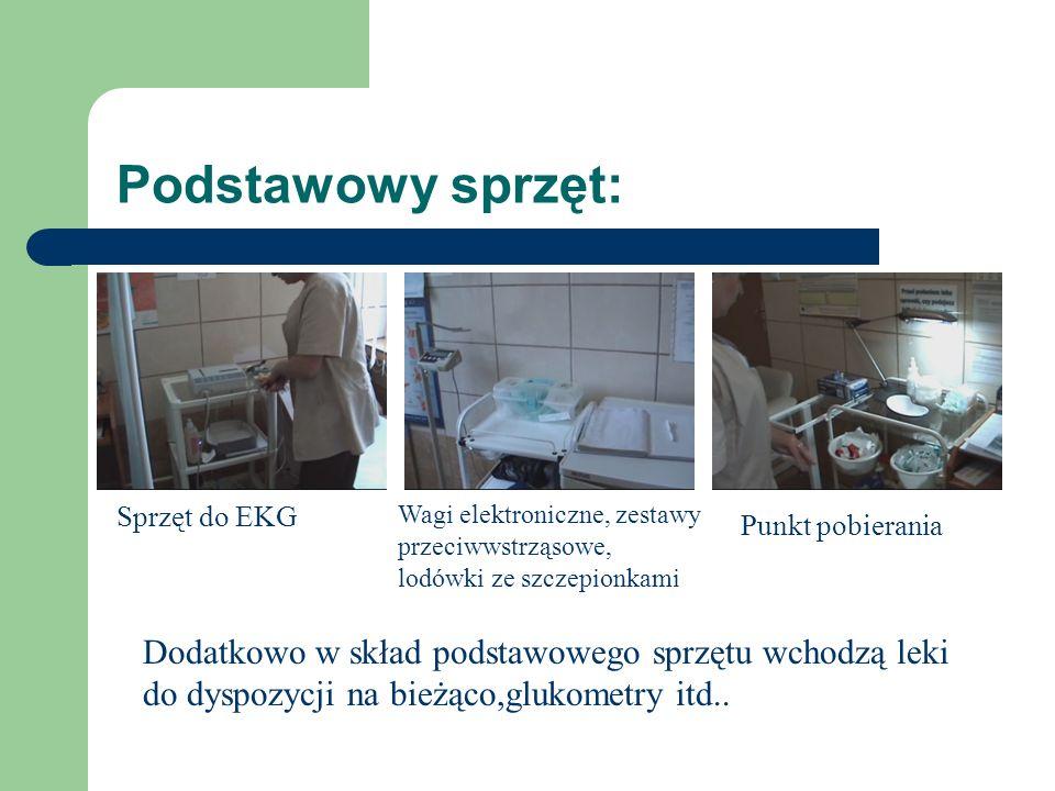 Podstawowy sprzęt: Sprzęt do EKG Wagi elektroniczne, zestawy przeciwwstrząsowe, lodówki ze szczepionkami Punkt pobierania Dodatkowo w skład podstawowe