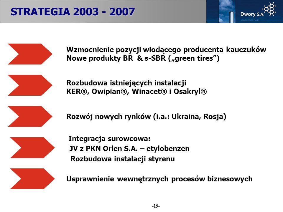 -19- STRATEGIA 2003 - 2007 Wzmocnienie pozycji wiodącego producenta kauczuków Nowe produkty BR & s-SBR (green tires) Rozbudowa istniejących instalacji