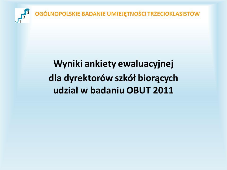 OGÓLNOPOLSKIE BADANIE UMIEJĘTNOŚCI TRZECIOKLASISTÓW Wyniki ankiety ewaluacyjnej dla dyrektorów szkół biorących udział w badaniu OBUT 2011