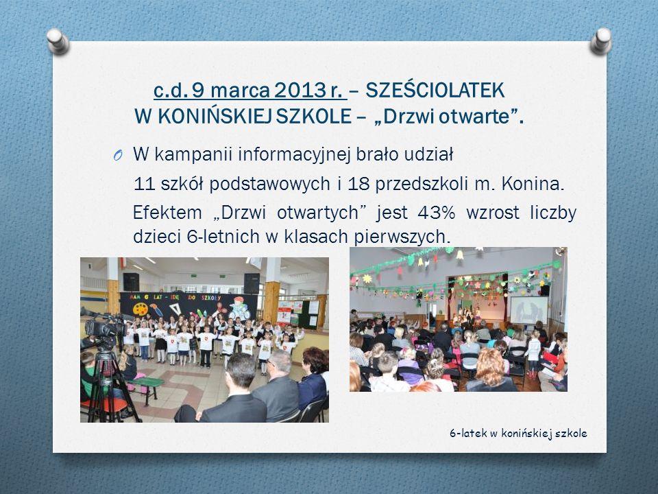 c.d. 9 marca 2013 r. – SZEŚCIOLATEK W KONIŃSKIEJ SZKOLE – Drzwi otwarte. O W kampanii informacyjnej brało udział 11 szkół podstawowych i 18 przedszkol
