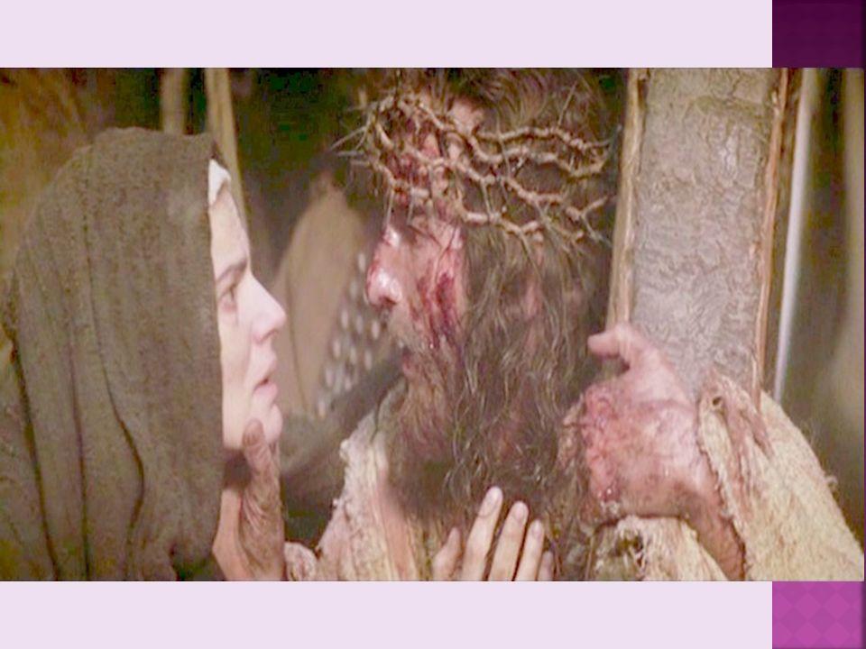 Szymon z Cyreny pomaga nieść krzyż Jezusowi