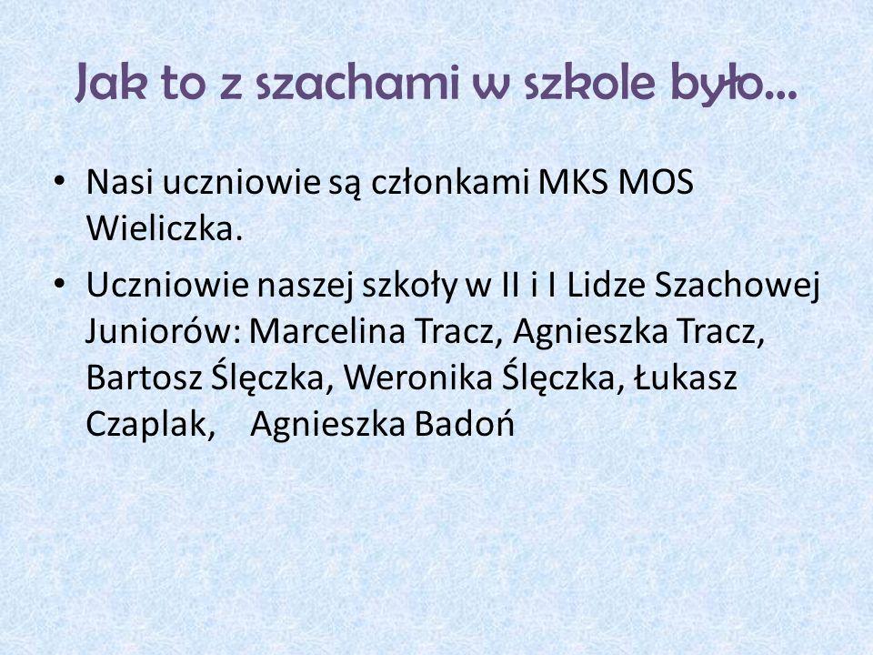 Jak to z szachami w szkole było… Nasi uczniowie są członkami MKS MOS Wieliczka.