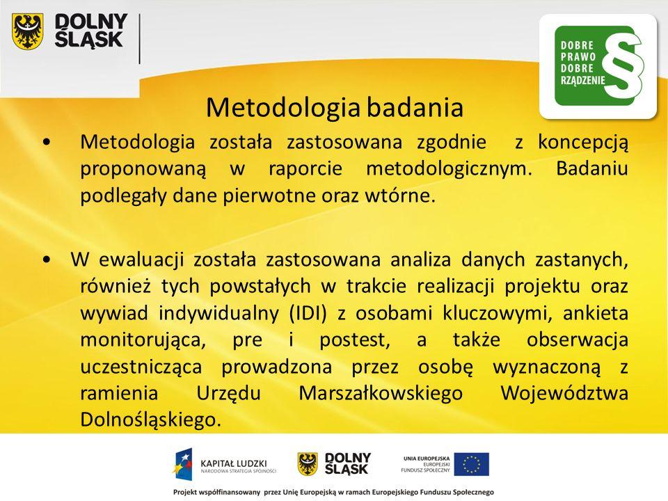 Metodologia badania Metodologia została zastosowana zgodnie z koncepcją proponowaną w raporcie metodologicznym. Badaniu podlegały dane pierwotne oraz