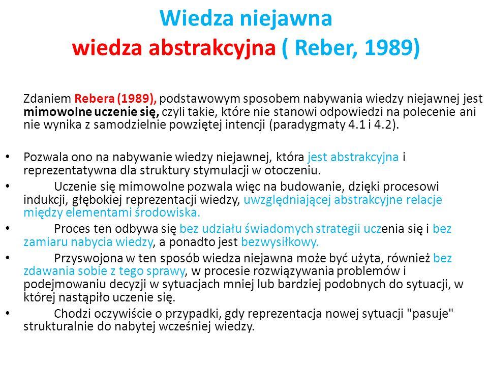 Wiedza niejawna wiedza abstrakcyjna ( Reber, 1989) Zdaniem Rebera (1989), podstawowym sposobem nabywania wiedzy niejawnej jest mimowolne uczenie się,