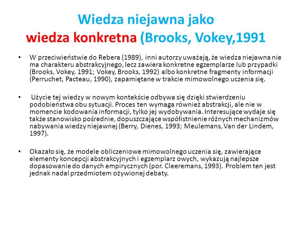 Wiedza niejawna jako wiedza konkretna (Brooks, Vokey,1991 W przeciwieństwie do Rebera (1989), inni autorzy uważają, że wiedza niejawna nie ma charakte