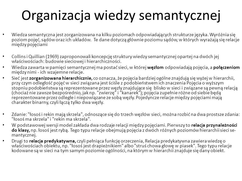 Organizacja wiedzy semantycznej Wiedza semantyczna jest zorganizowana na kilku poziomach odpowiadających strukturze języka. Wyróżnia się poziom pojęć,