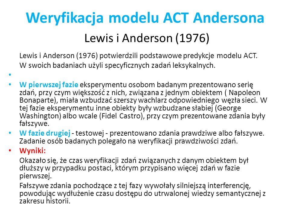 Weryfikacja modelu ACT Andersona Lewis i Anderson (1976) Lewis i Anderson (1976) potwierdzili podstawowe predykcje modelu ACT. W swoich badaniach użyl