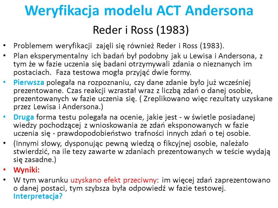 Weryfikacja modelu ACT Andersona Reder i Ross (1983) Problemem weryfikacji zajęli się również Reder i Ross (1983). Plan eksperymentalny ich badań był