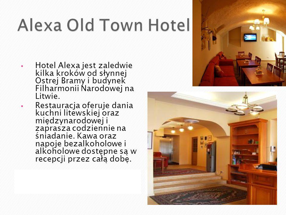 Hotel Alexa jest zaledwie kilka kroków od słynnej Ostrej Bramy i budynek Filharmonii Narodowej na Litwie. Restauracja oferuje dania kuchni litewskiej