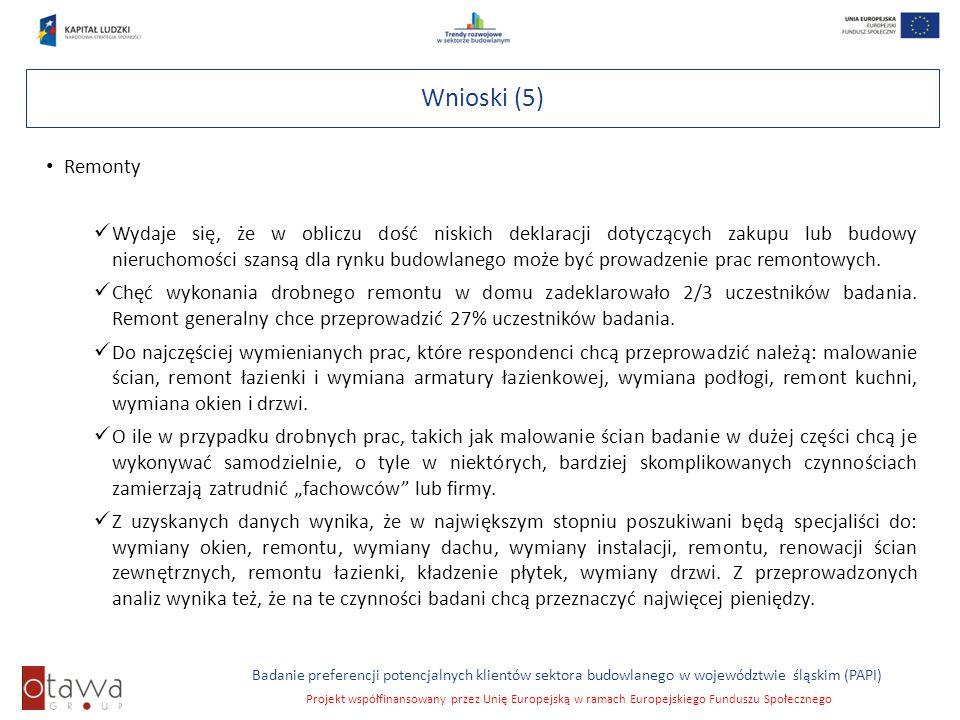 Slajd 10 Badanie preferencji potencjalnych klientów sektora budowlanego w województwie śląskim (PAPI) Projekt współfinansowany przez Unię Europejską w