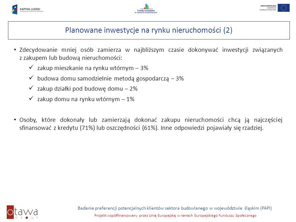 Slajd 26 Badanie preferencji potencjalnych klientów sektora budowlanego w województwie śląskim (PAPI) Projekt współfinansowany przez Unię Europejską w