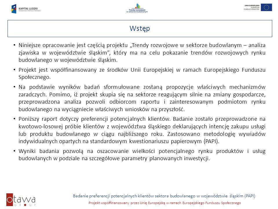Slajd 3 Badanie preferencji potencjalnych klientów sektora budowlanego w województwie śląskim (PAPI) Projekt współfinansowany przez Unię Europejską w