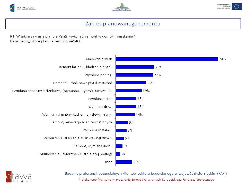 Slajd 52 Badanie preferencji potencjalnych klientów sektora budowlanego w województwie śląskim (PAPI) Projekt współfinansowany przez Unię Europejską w