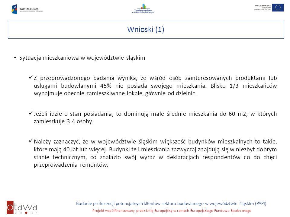 Slajd 6 Badanie preferencji potencjalnych klientów sektora budowlanego w województwie śląskim (PAPI) Projekt współfinansowany przez Unię Europejską w
