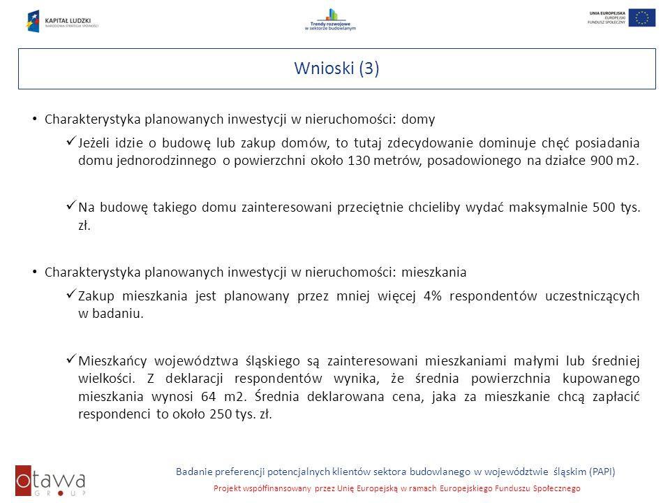 Slajd 8 Badanie preferencji potencjalnych klientów sektora budowlanego w województwie śląskim (PAPI) Projekt współfinansowany przez Unię Europejską w