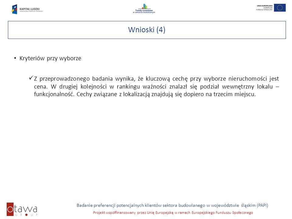 Slajd 9 Badanie preferencji potencjalnych klientów sektora budowlanego w województwie śląskim (PAPI) Projekt współfinansowany przez Unię Europejską w