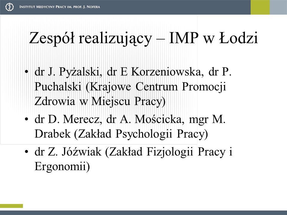 Zespół realizujący – IMP w Łodzi dr J.Pyżalski, dr E Korzeniowska, dr P.