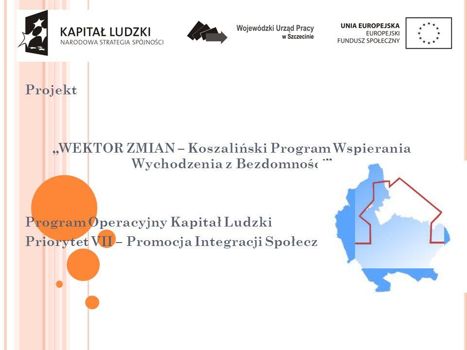 Projekt WEKTOR ZMIAN – Koszaliński Program Wspierania Wychodzenia z Bezdomności Program Operacyjny Kapitał Ludzki Priorytet VII – Promocja Integracji Społecznej
