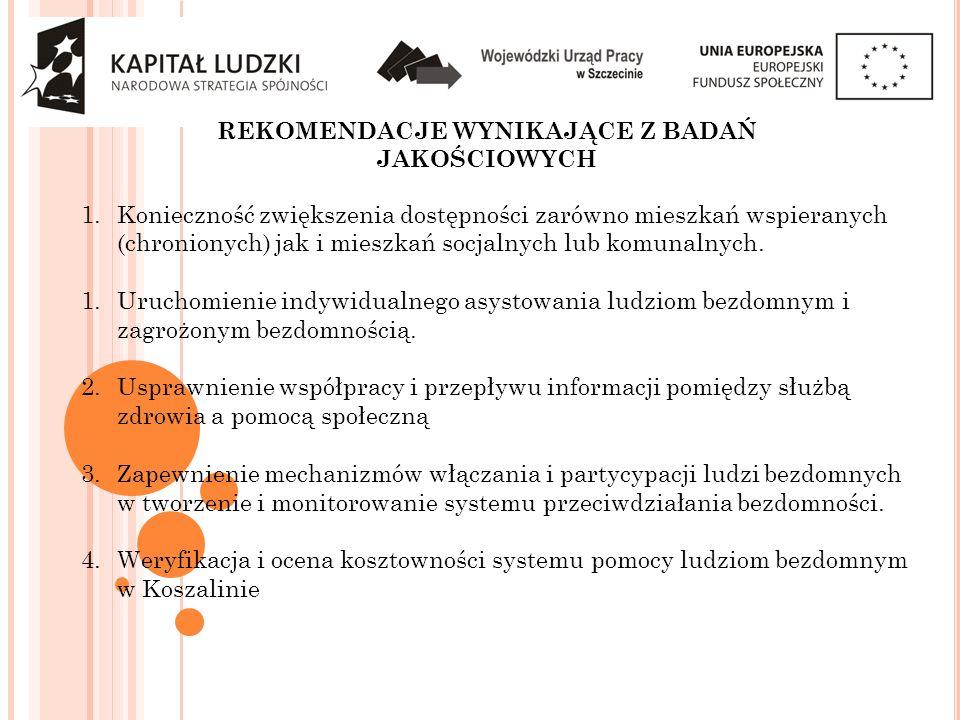 REKOMENDACJE WYNIKAJĄCE Z BADAŃ JAKOŚCIOWYCH 1.Konieczność zwiększenia dostępności zarówno mieszkań wspieranych (chronionych) jak i mieszkań socjalnyc