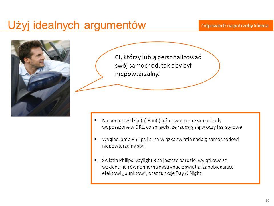Użyj idealnych argumentów Odpowiedź na potrzeby klienta Na pewno widział(a) Pan(i) już nowoczesne samochody wyposażone w DRL, co sprawia, że rzucają s