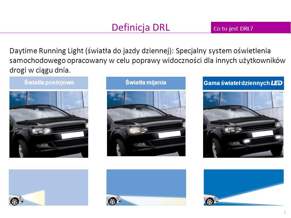 Definicja DRL Daytime Running Light (światła do jazdy dziennej): Specjalny system oświetlenia samochodowego opracowany w celu poprawy widoczności dla