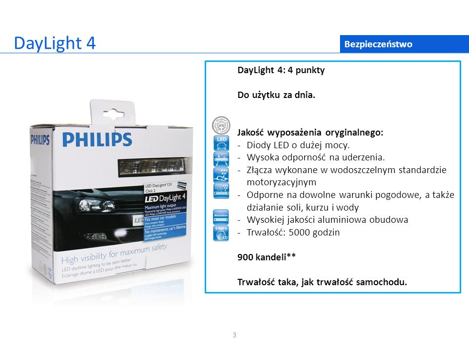 3 Bezpieczeństwo DayLight 4 DayLight 4: 4 punkty Do użytku za dnia. Jakość wyposażenia oryginalnego: - Diody LED o dużej mocy. -Wysoka odporność na ud