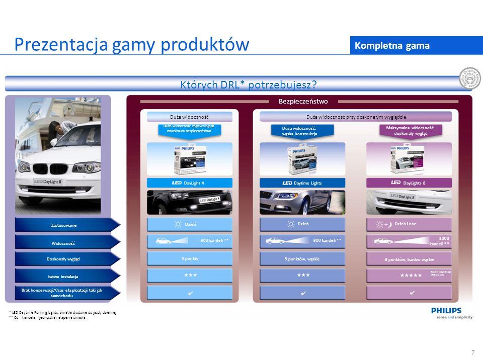 Kompletna gama Prezentacja gamy produktów 7 Których DRL* potrzebujesz? Bezpieczeństwo Duża widocznośćDuża widoczność przy doskonałym wyglądzie Zastoso