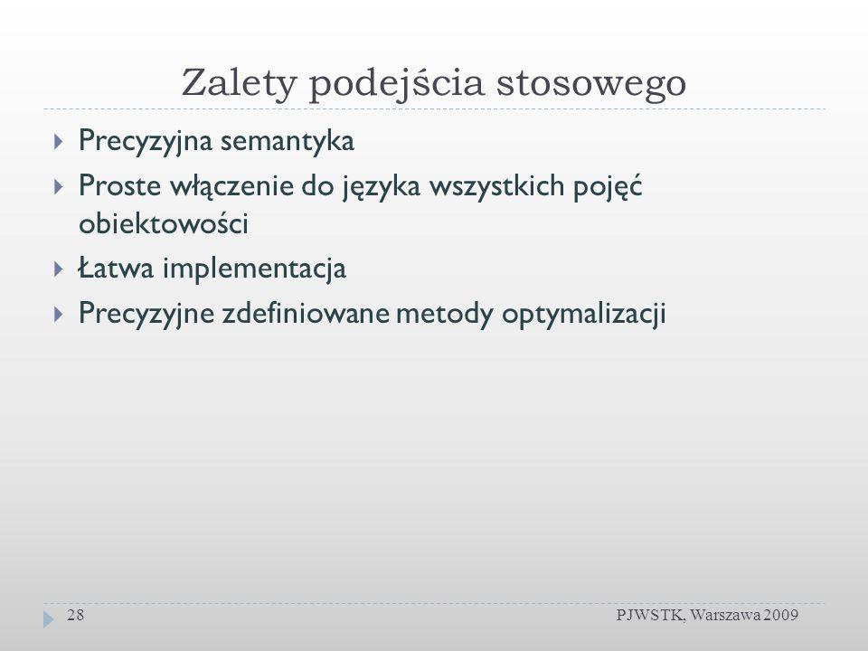 Zalety podejścia stosowego PJWSTK, Warszawa 200928 Precyzyjna semantyka Proste włączenie do języka wszystkich pojęć obiektowości Łatwa implementacja P