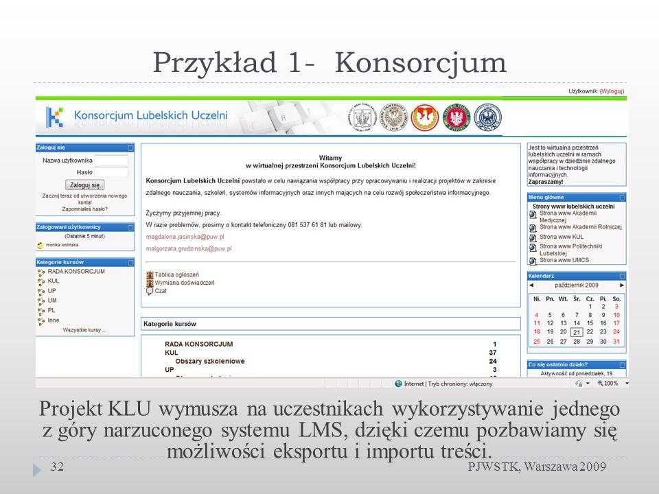 Przykład 1- Konsorcjum PJWSTK, Warszawa 200932 Projekt KLU wymusza na uczestnikach wykorzystywanie jednego z góry narzuconego systemu LMS, dzięki czemu pozbawiamy się możliwości eksportu i importu treści.
