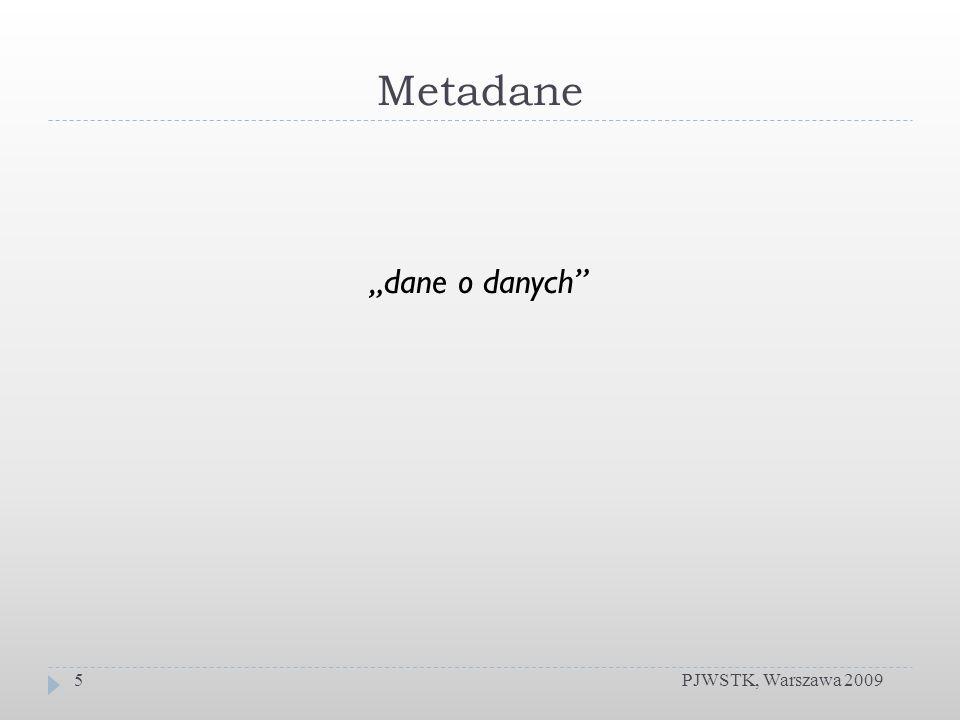 Metadane PJWSTK, Warszawa 20095 dane o danych