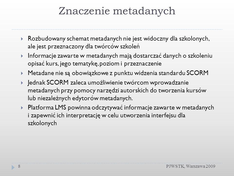 Znaczenie metadanych PJWSTK, Warszawa 20098 Rozbudowany schemat metadanych nie jest widoczny dla szkolonych, ale jest przeznaczony dla twórców szkoleń