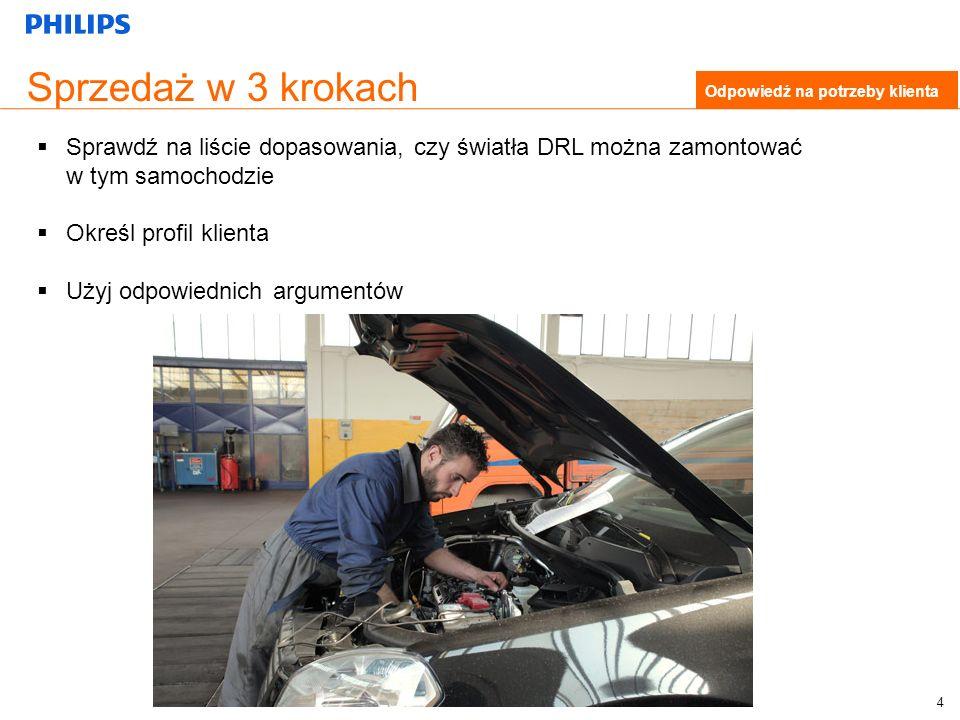 Sprzedaż w 3 krokach Odpowiedź na potrzeby klienta Sprawdź na liście dopasowania, czy światła DRL można zamontować w tym samochodzie Określ profil klienta Użyj odpowiednich argumentów 4