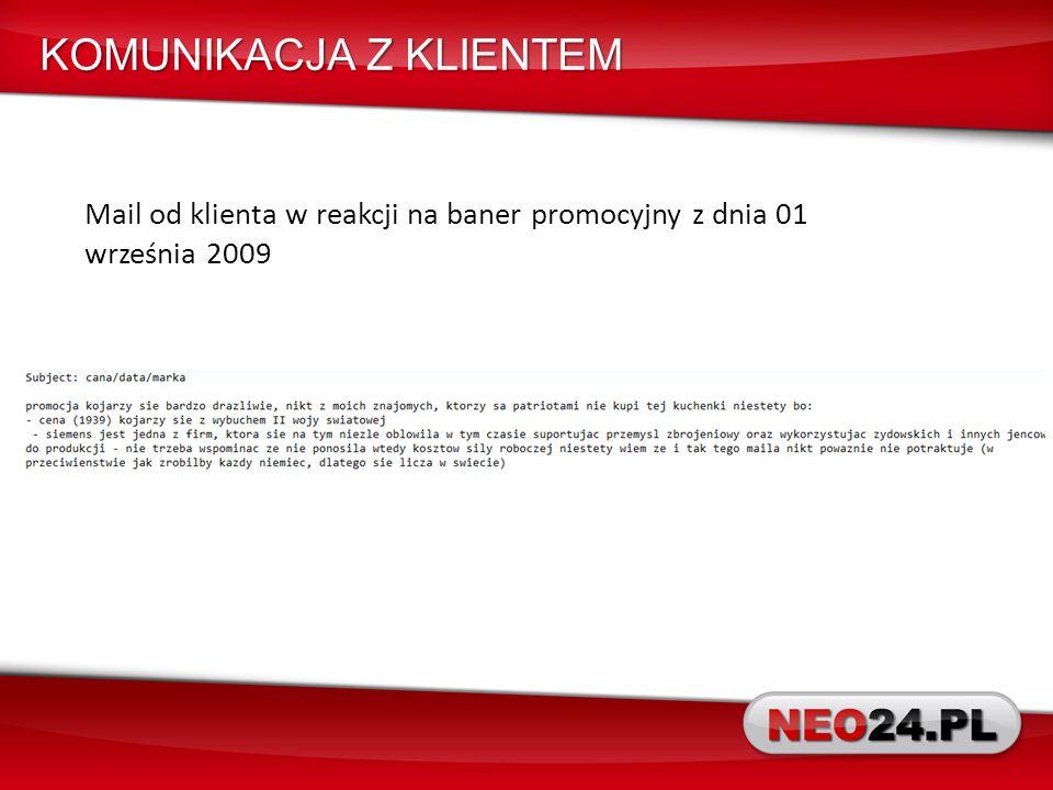 Mail od klienta w reakcji na baner promocyjny z dnia 01 września 2009