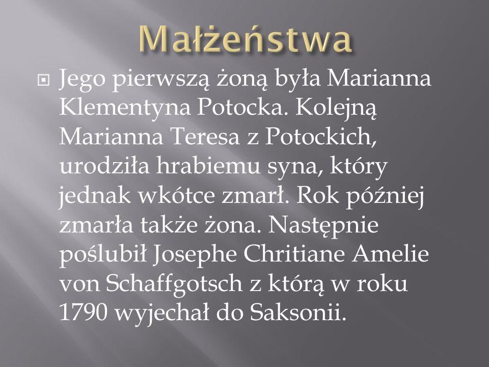 Jego pierwszą żoną była Marianna Klementyna Potocka. Kolejną Marianna Teresa z Potockich, urodziła hrabiemu syna, który jednak wkótce zmarł. Rok późni