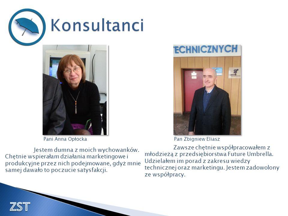 Pani Anna OpłockaPan Zbigniew Eliasz Jestem dumna z moich wychowanków. Chętnie wspierałam działania marketingowe i produkcyjne przez nich podejmowane,