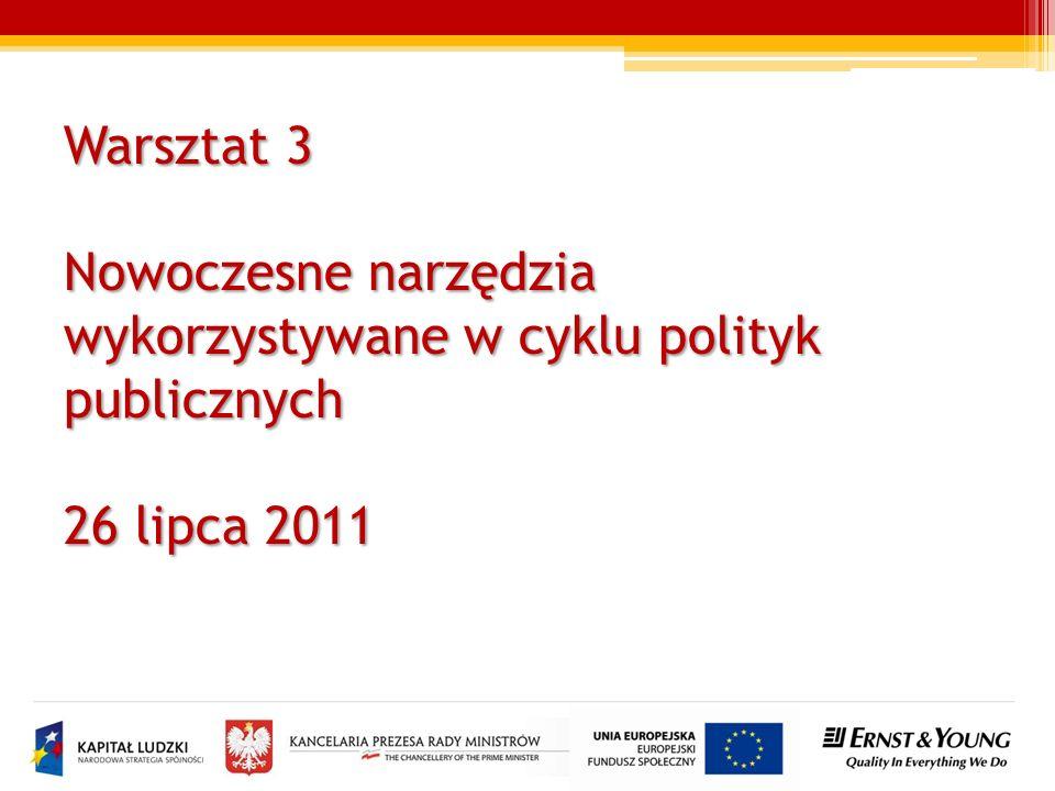 Warsztat 3 Nowoczesne narzędzia wykorzystywane w cyklu polityk publicznych 26 lipca 2011