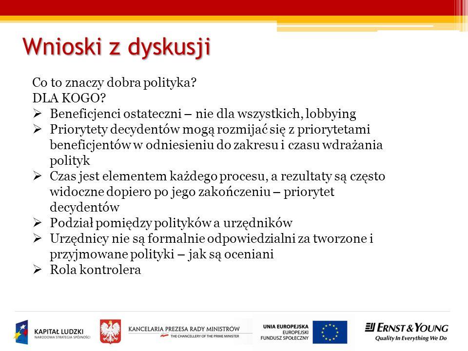 Wnioski z dyskusji Czy narzędzia mogą pomóc tworzyć i realizować dobre polityki.